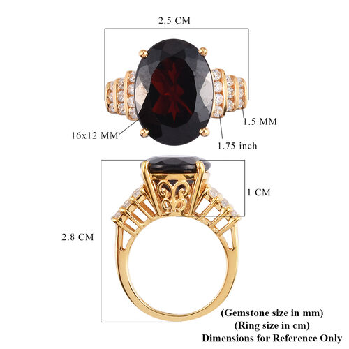 Mozambique Garnet and Natural Cambodian Zircon Ring in 14K Gold Overlay Sterling Silver 12.50 Ct.