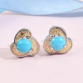 Arizona Sleeping Beauty Turquoise Stud Earrings (with Push Back) Sterling Silver 1.170 Ct.