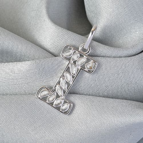 Artisan Crafted Polki Diamond Initial I Pendant in Platinum Overlay Sterling Silver 0.50 Ct.