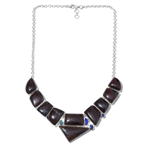 Opal Rock and Opal Statement Necklace in Silver 32 Grams 18 with 1 Inch Extender