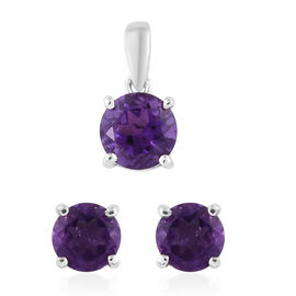 Set of 2 - Amethyst (Rnd) Stud Earrings (With Push Back) and Pendant in Platinum Overlay Sterling Silver 1.500 Ct.