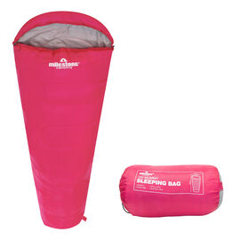 Mummy Sleeping Bag in Pink and Grey - Single - 2 Seasons  (210x52x72 Cm)
