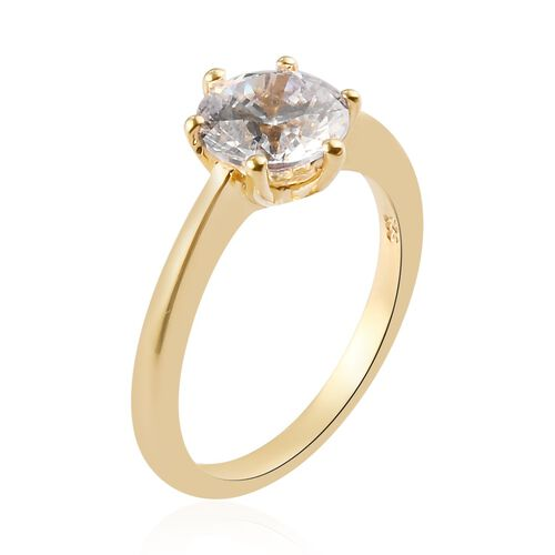 J Francis - 14K Gold Overlay Sterling Silver (Rnd 8 mm) Solitaire Ring Made with SWAROVSKI ZIRCONIA 3.28 Ct.