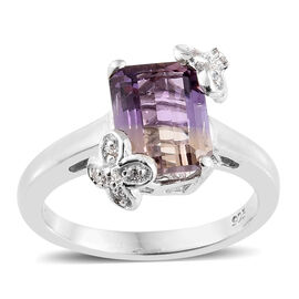 Anahi Ametrine (Oct), Natural White Cambodian Zircon Ring in Platinum Overlay Sterling Silver 2.250