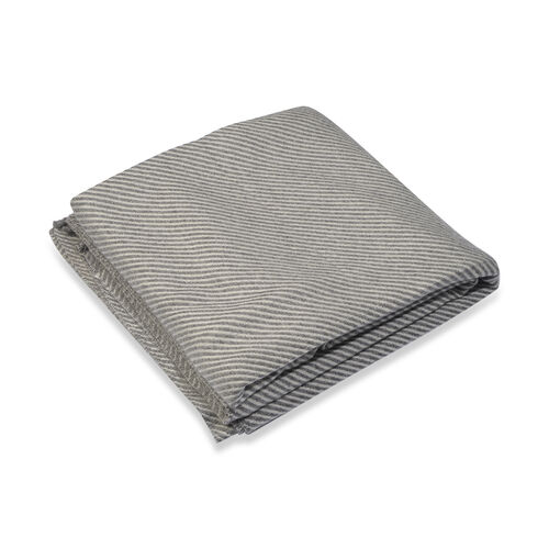 Close Out Deal- Cashmere Wool Throw Blanket  (Size 260x140 Cm) - Light Grey
