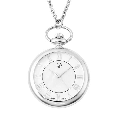 STRADA Japanese Movement Pocket Watch with Chain in Stainless Steel with 3 Replaceable Gemstone Ring