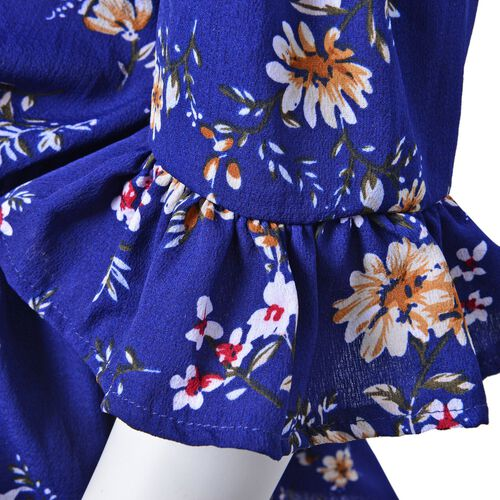 Summer Collection - Limited Available - Dark Blue and Multi Colour Floral Pattern Peplum Top (Medium-Large Size 45X50 Cm)