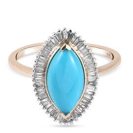 9K Yellow Gold Arizona Sleeping Beauty Turquoise and Diamond Ring 1.89 Ct.