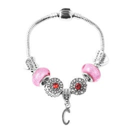 C Initial Charm Bracelet for Children in Simulated Pink Colour Bead, Red and White Austrian Crystal