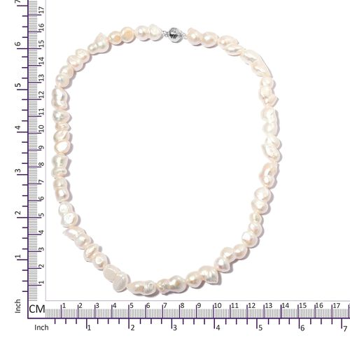 Limited Edition- Fresh Water Baroque Pearl Necklace (Size 20) in Rhodium Overlay Sterling Silver with Magenitc Clasp