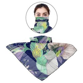 2 in 1 Flower Pattern Chiffon Soft Feel Scarf and Face Covering (Size 45x45 Cm) - Blue and Multi