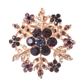 Multicolour Austrian Crystal (Rnd) Snowflake Brooch in Yellow Gold Tone