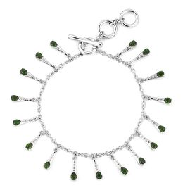 LucyQ Russian Diopside (Pear), Natural White Cambodian Zircon Drip Bracelet (Size 8) in Rhodium Over