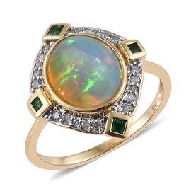 Ethiopian Opal (3.05 Ct),Kagem Zambian Emerald and Diamond 9K Y Gold Ring (Size J)  3.500  Ct.