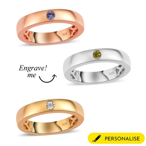 Personalise Engraved Birthstone Band Ring