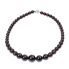Red Garnet  Necklace (Size - 20) in Rhodium Overlay Sterling Silver 774.500  Ct.