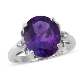 Amethyst and Natural Cambodian Zircon Ring in Rhodium Overlay Sterling Silver 4.23 Ct.