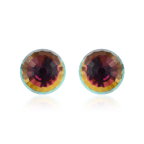J Francis - Crystal from Swarovski - Vitrail Medium Crystal (Disco Ball) Stud Earrings (with Push Ba