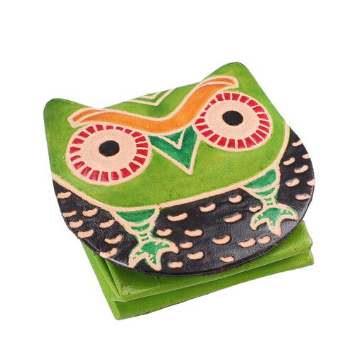 Set of 3 - 100% Genuine Leather Owl Theme Coin Pouch - Green, Pink and Blue