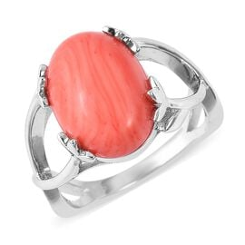 Bamboo Coral (Ovl 14x10 mm) Ring in Rhodium Overlay Sterling Silver