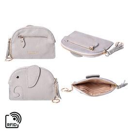 SENCILLEZ 100% Genuine Leather RFID Wallet (14x11cm) with Tassel - Grey