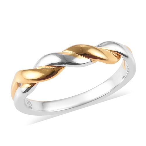 Platinum and Yellow Gold Overlay Sterling Silver Twisted Ring
