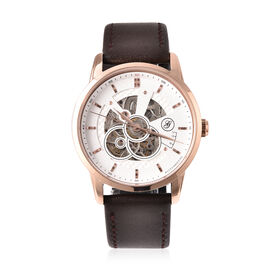 GENOA Classy Mechanical Gold Tone Watch with Brown Leather Strap