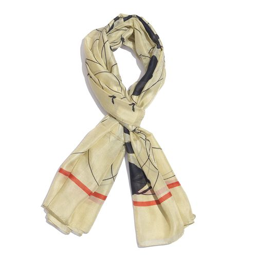 100% Mulberry Silk Beige, Black and Red Colour Handscreen Talking Ladies Printed Scarf (Size 180X100 Cm)