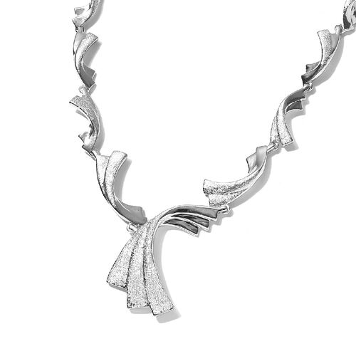 RACHEL GALLEY Platinum Overlay Sterling Silver Waves Necklace (Size 24)