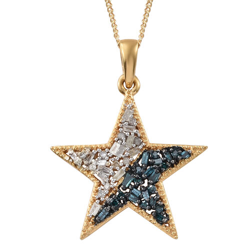 Blue and White Diamond (Bgt) Star Pendant with Chain in 14K Gold Overlay Sterling Silver 0.330  Ct.