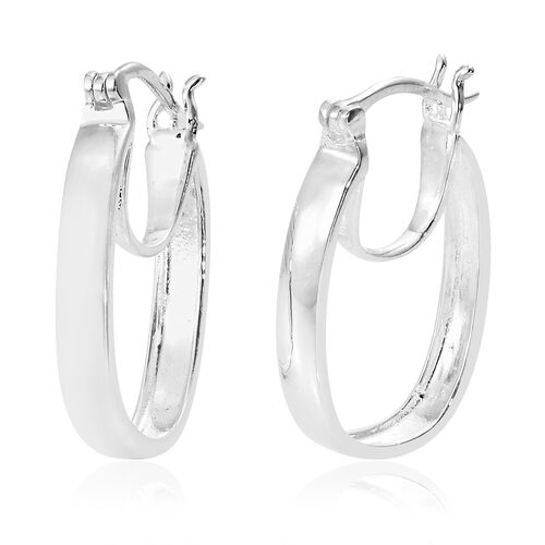 Designer Inspired-  Sterling Silver Hoop Earrings (with Clasp). Silver wt. 4.25 Gms