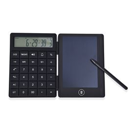 Rechargeable LCD Writing Tablet with Calculator (Size 10.5x14.5x1.3 Cm) - Black