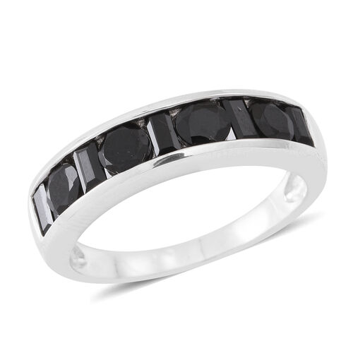 Boi Ploi Black Spinel (Rnd and Bgt) Half Eternity Band Ring in Rhodium Plated Sterling Silver 2.250 Ct.