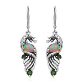 AA Ethiopian Welo Opal and AA Russian Diopside Lever Back Earrings in Sterling Silver 1.13 Ct, Silve
