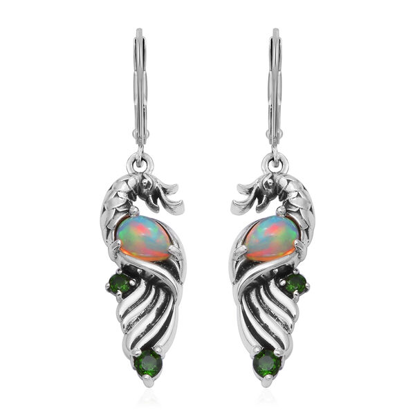 AA Ethiopian Welo Opal and AA Russian Diopside Lever Back Earrings in Sterling Silver 1.13 Ct, Silve