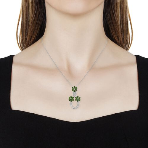 Designer Inspired-Russian Diopside (Pear), Natural Cambodian Zircon Triple Flower with Infinity Pendant with Chain in Platinum Overlay Sterling Silver 4.500 Ct. Silver wt 5.23 Gms.