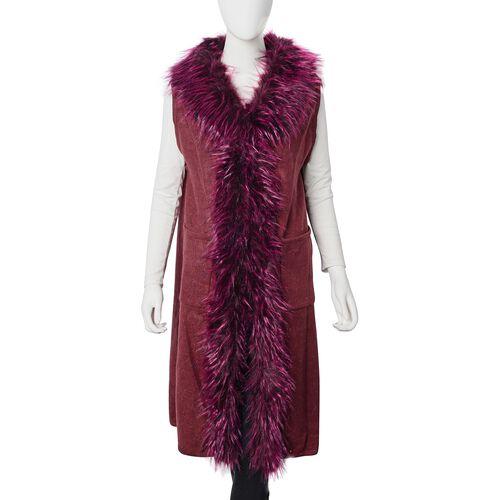 Faux Fur Collar Long Vest Cardigan with 2 Pockets (Size 106x53 Cm) Wine Red Colour