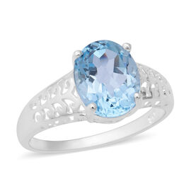 Sky Blue Topaz (Ovl 11x9mm) Solitaire Ring in Sterling Silver 4.29 Ct.