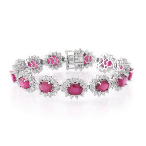 Duchess Inspired- AAA African Ruby (Ovl), Natural White Cambodian Zircon Bracelet (Size 7.5) in Rhodium Plated Sterling Silver 33.750 Ct. Silver wt 16.70 Gms. Gemstone Studded 168 Pcs