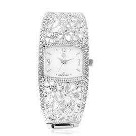 STRADA Japanese Movement Cushion Style Dial White Austrian Crystal Studded Water Resistant Bangle Wa