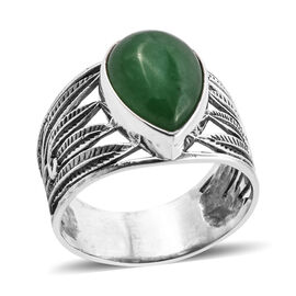 Royal Bali Collection Green Jade (Pear 14x10 mm) Ring in Sterling Silver 6.510 Ct.
