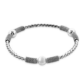 Woven Cuff Bangle in Sterling Silver 20.81 Grams 7.5 Inch