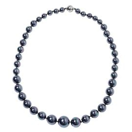 Tahitian Colour Shell Pearl (Rnd 8-16 mm) Graduated Necklace (Size 20) in Silver Plated