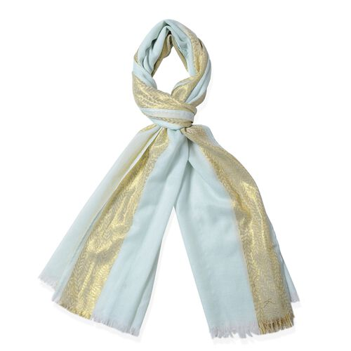 Mint Green Colour Golden Stip Pattern in 2 Side Scarf (Size 180x68 Cm)