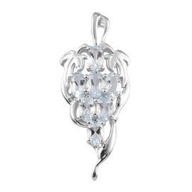 AA Santa Teresa Aquamarine Grape Bunch Pendant in Platinum Overlay Sterling Silver 1.15 Ct.
