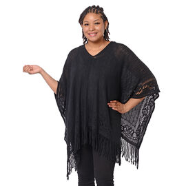 Spring Collection - Solid Black Colour Hollow Out Poncho with Tassel (Free Size; Length 60Cm)