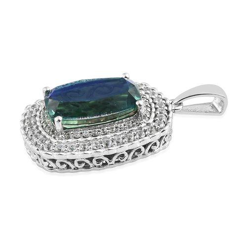 Peacock Quartz (Cush 6.60 Ct), Natural Cambodian Zircon Pendant in Platinum Overlay Sterling Silver 7.500 Ct.