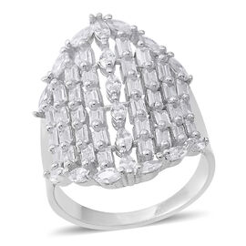 ELANZA Simulated White Diamond (Mrq and Bgt) Cluster Ring in Rhodium Plated Sterling Silver, Silver wt 6.20 Gms.