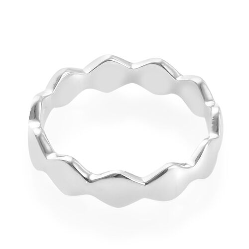 Platinum Overlay Sterling Silver Wavy Band Ring