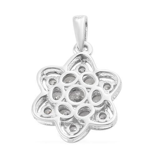 J Francis Platinum Overlay Sterling Silver (Rnd) Snowflake Pendant Made with SWAROVSKI ZIRCONIA